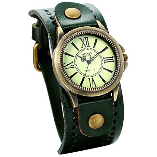 JewelryWe Damen Armbanduhr Vintage Casual Analog Quarz Leder Band Uhr mit römischen Ziffern Zifferblatt Dunkelgrün