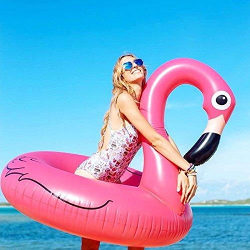 FiYenn Flamingo-Schwimmring,90cm Aufblasbares Schwimmtier, Badetier, Riesen Luftmatratze,Passend für Kinder und Erwachsene