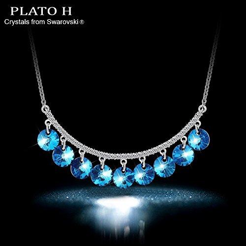 Plato H Bleu océan Chute Bijoux Pendentif Collier avec cristaux Swarovski, 45,7cm bleu