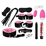 Wongfon Adult Six Adventure Game Six Toys Set- 12PCS PU Leather Handcuffs Vibreto Amal Plug Games for Couples