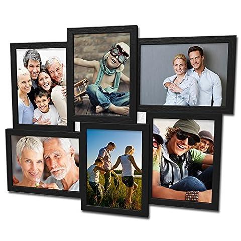 Holz Fotogalerie für 6 Fotos 13x18 cm - 3D 609 Bilderrahmen Bildergalerie Fotocollage Rahmenfarbe