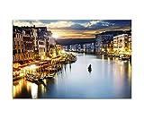 120x80cm - WANDBILD Venedig Häuser Kanal Wasser Boote Himmel - Leinwandbild auf Keilrahmen modern stilvoll - Bilder und Dekoration
