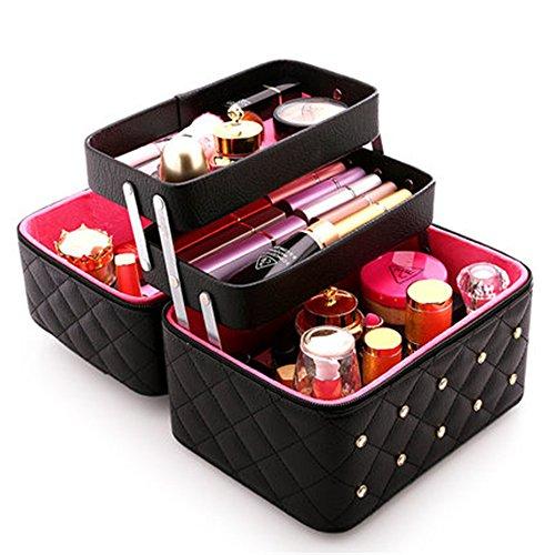 FYX Kosmetikkoffer Makeup Box Kosmetiktasche Schminkkoffer für Reisen Dienstreise weich 25*19*21cm Schwarz Rosa Pink (Schwarz)