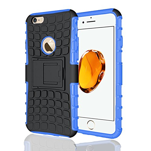 Apple iPhone 7Plus, Armor Case Tough Rugged Shock proof Armorbox Dual Layer Heavy Duty Carrying Hybrid Hard Slim Protective Case For iPhone 7 (with Kickstand) + Screen Protector-Black Blue