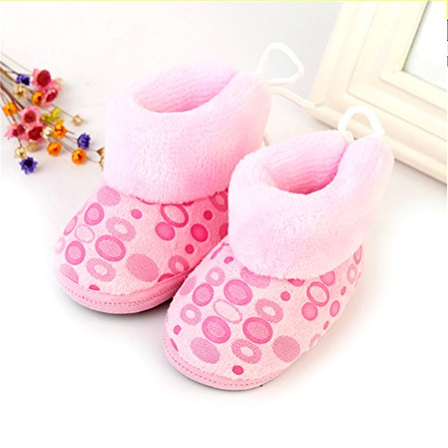 Zhhlinyuan Bébé Girls Boys Soft Sole Snow Boots Toddler Warm Cotton Shoes One Size pink