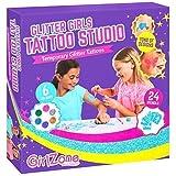 GirlZone Glitter Tattoos Studio für Mädchen Glitzertattoos Set 33 Stücke mit 24 Tattoo Schablonen & 6 Glitter für Tattoo - Temporäre Tattoos Spielzeug Kinder Mädchen Geschenk 6 - 10 Jahre