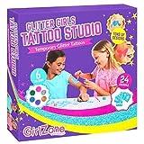 GirlZone Kit de Tatuajes Temporales con Brillantina para Niñas Incluye 33 Piezas. La Mejor Idea Regalo de Cumpleaños para Chicas 6 7 8 9 10 11 12 años Regalos para Chicas con Purpurina de Unicornio!