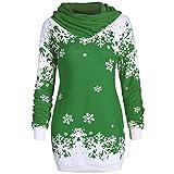 OSYARD Weihnachts Pullover Kleid Slim Fit Christmas Sweatshirt Damen, Mode Frauen Langarmshirt Frohe Weihnachten Snowflake Printing Tops Cowl Neck Strickpullover Lang Bluse Shirt (2XL, Grün)