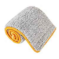 DGdolph 38Cm Double Sided Non-Hand Washing Mop Cloth Soft Fiber Replacement Mop Head Orange & Gray