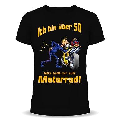 Witzige Geburtstag Sprüche Fun Tshirt! Ich über 50! Bitte Helft Mir Aufs  Motorrad!