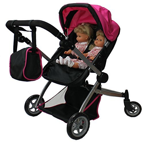 Babyboo Deluxe Twin Doll Pram/Stroller with Free Carriage (Multi Function View All Photos) - 9651A (Twin Doll Stroller)