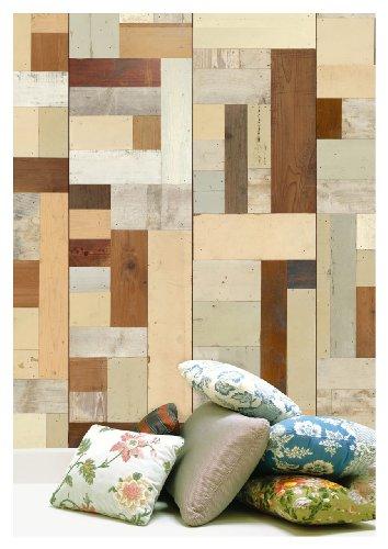 NLXL Tapete in Holz-Optik von Piet Hein Eek, Faserstoff, Beige/Cremefarben/Braun/Hellgrün, 1Rolle (900x48,7cm) - Scrapwood Wallpaper