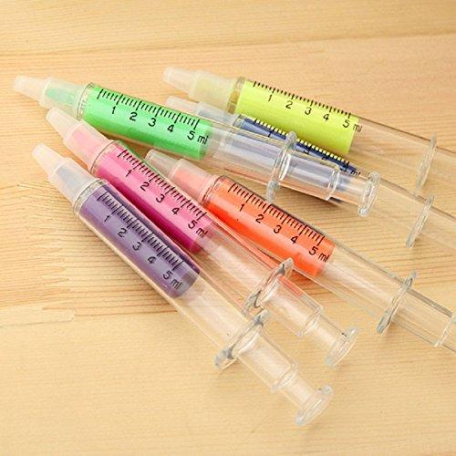 tinksky-6pcs-nouveaut-seringue-en-forme-de-stylos-fluorescents-surligneur-dans-6-couleurs-diffrentes