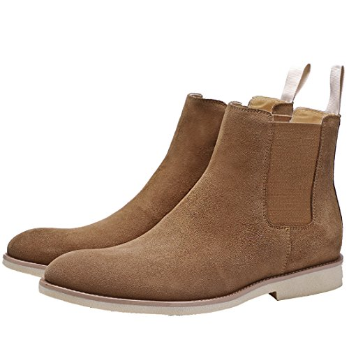Herren Chelsea Boots Lederoptik Business Suede Stylische Stiefeletten Knöchelhohe Stiefel Casual Schuhe Braun 48 EU (Schweinsleder-mode)