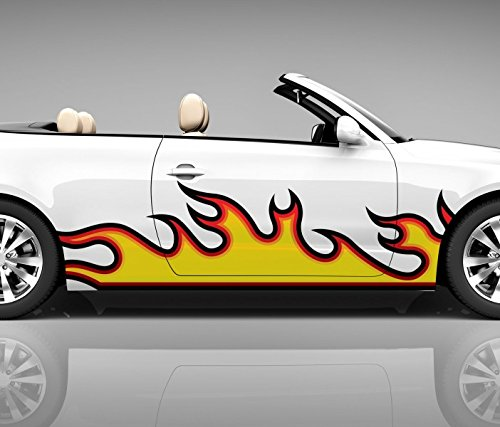 2x Seitendekor Flamme Feuer rot 3D Autoaufkleber Digitaldruck Seite Auto Tuning bunt Aufkleber Rennstreifen Seitenstreifen Racing Autofolie Car Wrapping Motorrad LKW Decals Sticker Tribal Seitentribal CW027, Größe LxB:ca 120x30cm (Aufkleber Racing Auto)