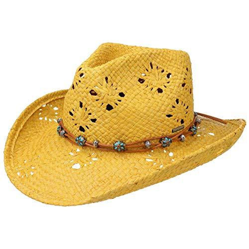 Stetson Western Raffia Strohhut Raffiahut Sommerhut Sonnenhut Strandhut Cowboyhut für Damen   mit Lederband Frühling-Sommer   S (54-55 cm) gelb