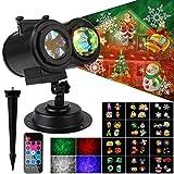 OOTOO 2in1 LED Projektionslampe außen Licht 12 Folien, Außenwandleuchten wasserdicht innen außen Wasser Ripple Effekte für Weihnachtsfeiern