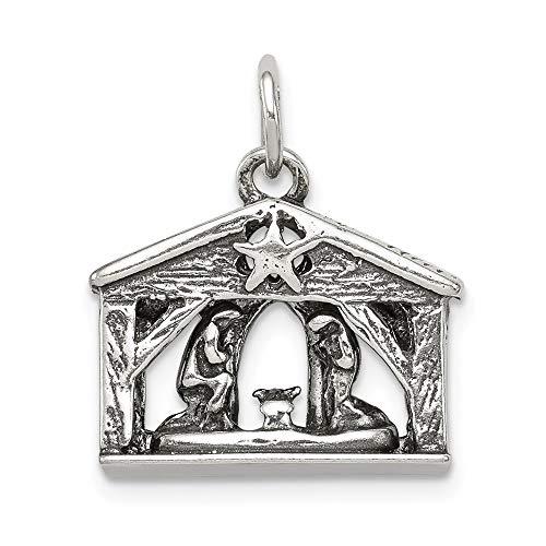 Krippe Antik (925Sterling Silber Damen Anhänger Krippe antik (Länge: 19MM, Breite: 17mm))