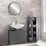 Pharao24 Design Badmöbel Set in dunkel Grau rundem Spiegel