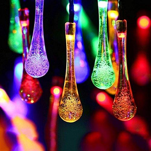 Solar Wassertropfen, EONHUAYU Solar Wassertropfen Lichter 20ft 30LEDs Wassertropfen Lichterketten Wasserdicht für Zuhause Indoor Garten Rasen Patio Bäume Hochzeiten (Multicolor) Drop-off-panel
