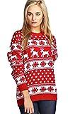 WOMENS KNITTED XMAS CHRISTMAS RUDOLF REINDEER SNOWFLAKE FESTIVE DEER BAMBI JUMPER TOP (Small/Medium (8-10), Red Reindeer Snowflake)