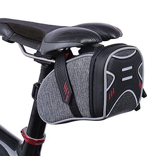 ROTTO Satteltasche Fahrrad Sattel Tasche für Mountainbike Rennrad Wasserdichter Reißverschluss (Grau)