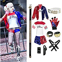 OPM Costume di Halloween per Adulti, Harley Quinn Suicide Squad Set, Donne Cosplay Costumi Set per Halloween Party Carnival Cosplay m