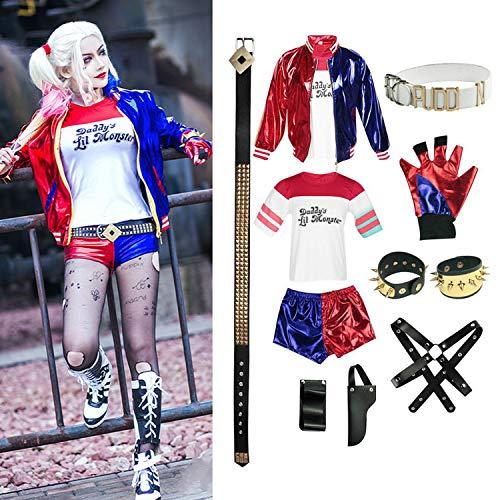 Joker's Freundin Kostüm - OPM Halloween-Kostüm für Erwachsene, Harley Quinn Suicide Squad Sets, Frauen Cosplay Kostüme Sets für Halloween Party Karneval Cosplay m