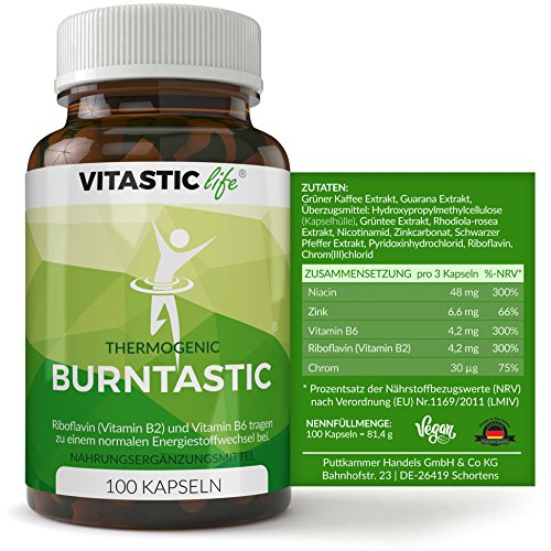 Abnehmen: Ergänzung zur Diät - Burntastic - Wirkung auf Energiestoffwechsel + Verringerung von Müdigkeit - mit Chlorogensäure