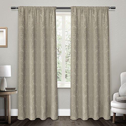 Rod Fenster-vorhang 108 (Exclusive Home Vorhänge Damast Medaillon schwere Chenille Jacquard Verdunkeln Rod Pocket Fenster Vorhang Panel, taupe, 52x 274cm, Set von 2)