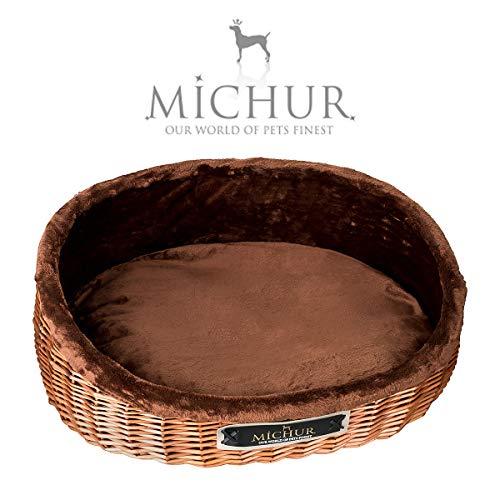 MICHUR Lounge, Hundekorb Rattan, Katzenbett Weide Braun, Hunde Sofa, Katzenkorb aus weide, Rattan, Natur, ca. 45cm - ca. 75cm ...