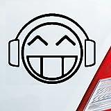 Auto Aufkleber in deiner Wunschfarbe DJ Smiley Musik Smily Kopfhörer DUB OEM 10x8,5 cm Autoaufkleber Sticker Folie