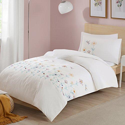 Renforcé Bettwäsche Set Louisa 2-teilig mit bunten Blumen Stickerei Bettbezug Kissenbezug 100% Baumwolle Ideal für Sommer Einzelbett weiß, 135x200+50x75cm