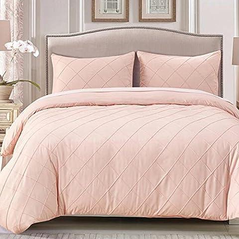 Pure rosa Bettbezug-Set–Diamond Lattice Design Französisch Heimtextilien gebürstet 100% Polyester Material Queen Größe 1200g, Polyester-Mischgewebe, rose, Queen