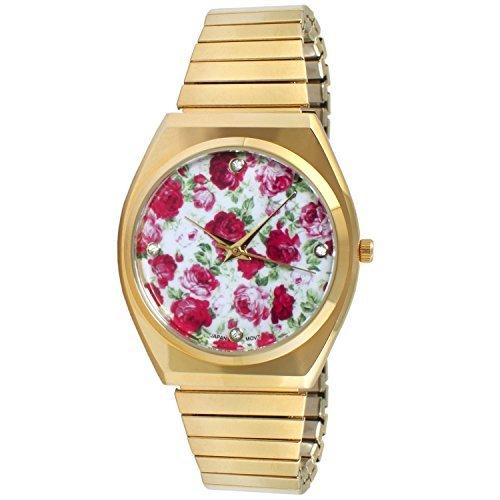 duhr Expansion Band Edelstahl Stretch dünn Schutzhülle Weiß Rot Floral Kleid Flex Vintage Armbanduhr (Blume Gilr Kleider)