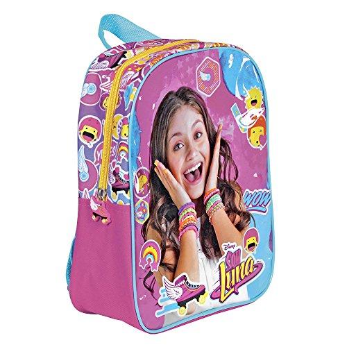 Zainetto Bambina Disney Soy Luna - Zaino per l'asilo e la scuola - Cartella scolastica con spallacci imbottiti regolabili - Rosa e Azzurro - 30x24x10 cm - Perletti