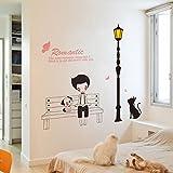 ZYJY Mauer - Aufkleber entfernen der romantischen Wand Aufkleber Bank mädchen mädchen Schlafzimmer mit Dekorativen Street Zaun Aufkleber