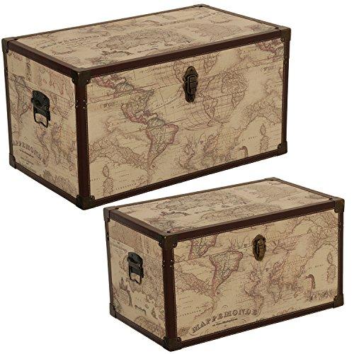 DonRegaloWeb - Set de 2 baúles de madera y polipiel con el mapamundi