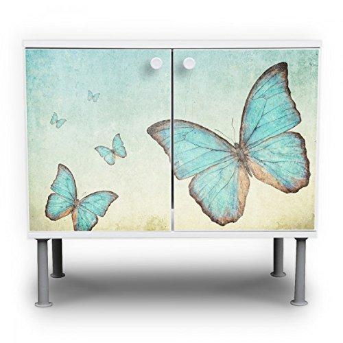 banjado - Badschrank 60x55x35cm Waschtisch Unterschrank weiß höhenverstellbar mit Motiv Blaue Schmetterlinge