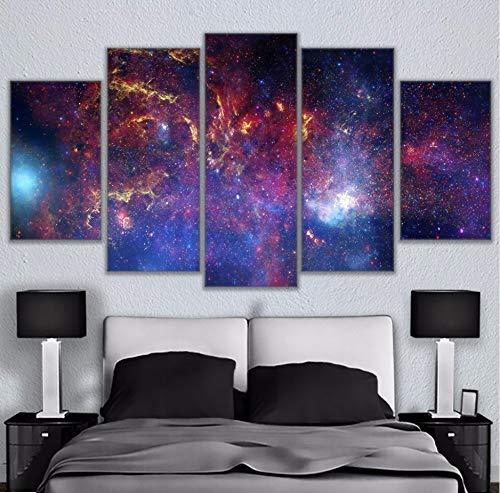 Wiwhy (Kein Rahmen) Leinwand Malerei Wandkunst Wohnkultur Wohnzimmer 5 Stücke Bunte Stern Gefüllt Galaxy Poster Modulare Hd Gedruckt Abstrakte Bilder