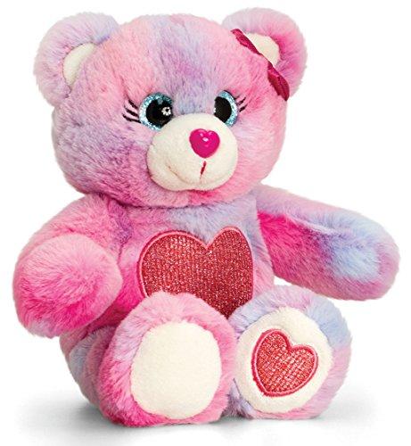 Lashuma Plüschtier Teddy, Glitter Gems Kuscheltier Bärchen in rosa - blau gefleckt mit Herz, Teddy ca. 16 cm