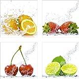Artland Qualitätsbilder I Glasbilder Deko Glas Bilder 30 x 30 cm mehrteilig Ernährung Genuss Lebensmittel Obst Foto Bunt A6PZ Orangen -, Erdbeeren -, Kirschen -, Limetten mit Spritzwasser