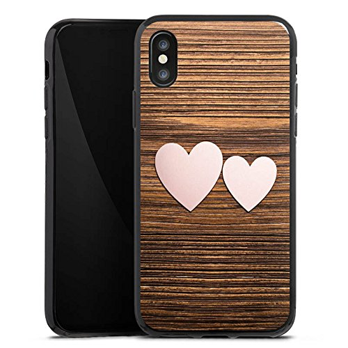 Apple iPhone X Silikon Hülle Case Schutzhülle Herz Liebe Holz Silikon Case schwarz