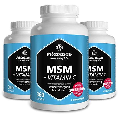 3 Dosen MSM Kapseln mit Vitamin C - 360 Stück für 6 Monate, 1.334 mg Tagesdosis organischer Schwefel, Qualitätsprodukt-Made-in-Germany, Methylsulfonylmethan 99,9% rein, 30 Tage kostenlose Rücknahme!