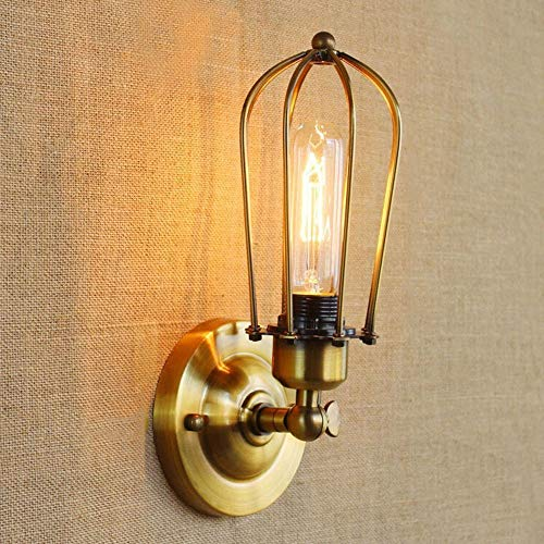 ACZZ Industrielle Retro verstellbare Swing Arm Wandleuchte Lampe Antik Loft Eisen Birdcage Wand Leuchte Schlafzimmer Nacht Laterne Korridor Treppe Licht,Bronze (Swing Arm Wand Lampe Bronze)