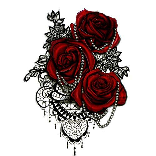 yyyDL Große rote Rose wasserdicht temporäre Tätowierungen Männer tatuajes temporales Halskette harajuku gefälschte Tätowierung Körper feminino tatoo 4pcs (Das Ohr Olivenöl Für)
