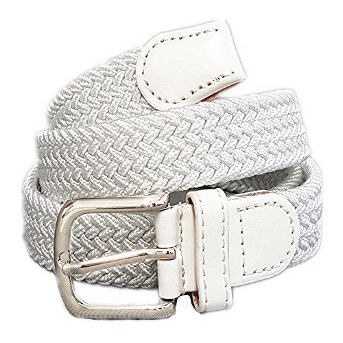 Unisex Flechtgürtel elastisch Damen Herren Gürtel geflochten Stretch ES (Weiß) (Nylon-stretch-jeans)