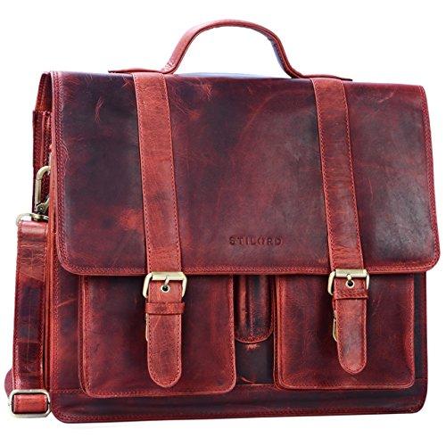 STILORD 'Marius' Klassische Lehrertasche Leder Schultasche XL groß Aktentasche zum Umhängen Businesstasche Laptoptasche echtes Rindsleder , Farbe:kara - rot (Leder-schultaschen)