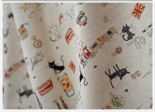 Tissu de coton Retro de lin chat en vélo pour tapisser chaises descalzadoras pour travaux manuels, Couture Coussins Guirlandes caravanes vitrine Rideaux 1.55 m x 50 cm. De Open Buy