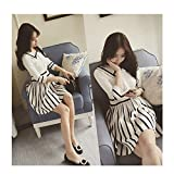 Evtech(tm) Women's Navy Waist Knit Bracelet Sleeve Stripe Dress Fashion Sweet Style Purplish Blue - S